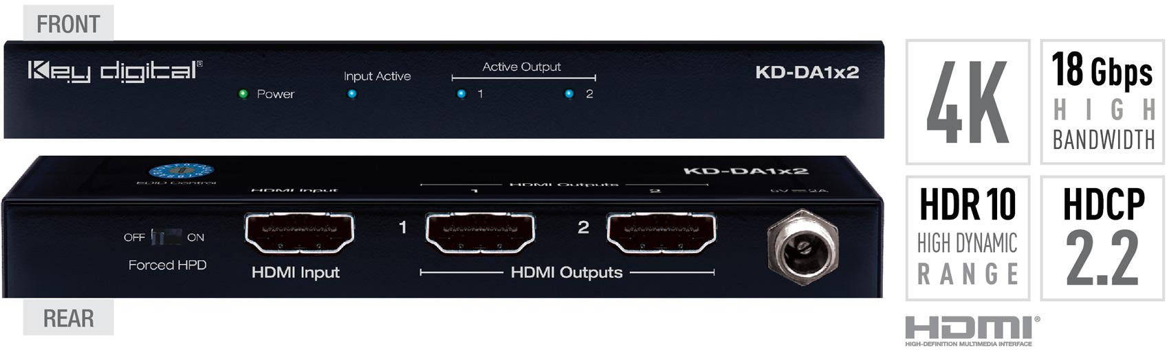 Key Digital KD-DA1x2 1x2 4K//18G HDMI Distribution Amplifier HDR10 HDCP2.2